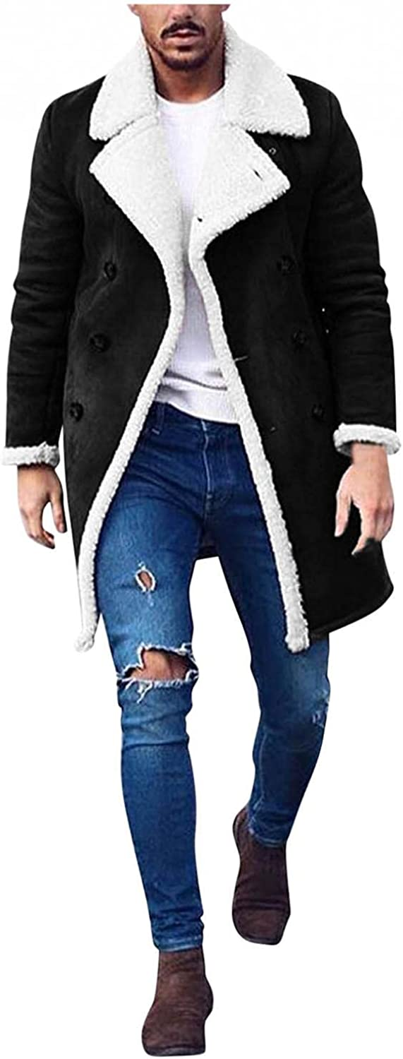 Burband Mens Fashion Sherpa Fleece Lined Suede Jackets Heavyweight Faux Fur Trench Coats Big and Tall Warm Outwears