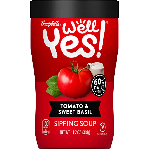 Campbell's Well Yes! Sipping Soup, Vegetable Soup On The Go, Tomato & Sweet Basil, 11.2 Oz Cup (8 Pack)