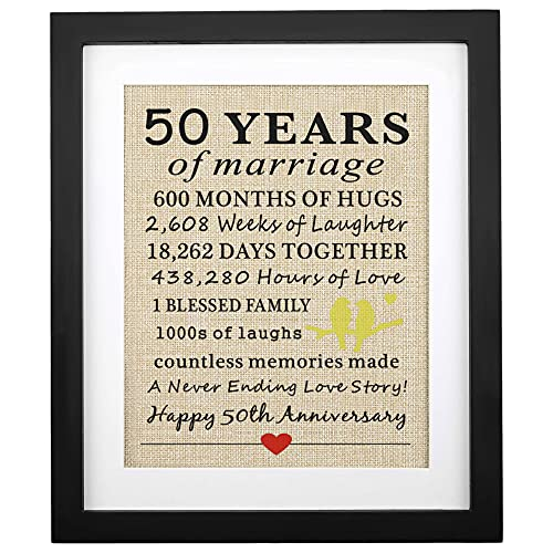 Framed 50 Years of Marriage Burlap Print, Gifts for 50th Anniversary, Parents 50th Wedding Anniversary, Golden Anniversary, 50th Anniversary Decoration, Gifts for Grandparents, Grandpa & Grandma