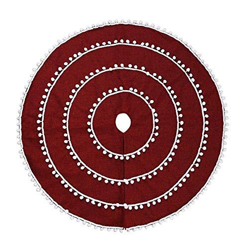 CHICMALL Red Christmas Tree Decoration Carpet White Ball Circle Burlap Party Decor