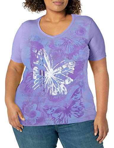 JUST MY SIZE Women's Size Plus Printed Short-Sleeve V-Neck T-Shirt, Big Butterfly Impresion, 5X