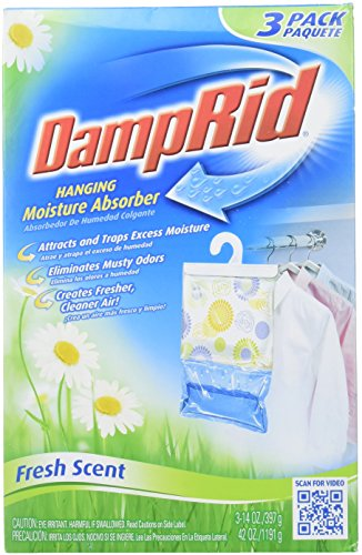 Best Price! DAMPRID 773822075241 FG83K Hanging Moisture Absorber Fresh Scent (3 Boxes of 3 Bag, Blue