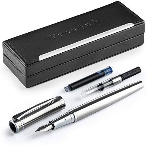 Trevink Luxury Fountain Pen Set | Medium Nib Pen with Elegant Gift Case + Twist Converter and Standard Ink Refill Cartridge
