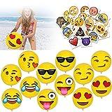 HOWAF 12 'Emoji Pelota Hinchable Pelotas de Playa Playa Piscina Juguete y Emoji Tatuajes temporales Pegatina para Adultos Niños Niñas Infantiles Cumpleaños Regalo Bolsas Relleno Piñata, 52 Pieza