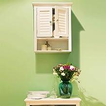 Glitzhome 24.1 بوصة H خزانة تخزين جدار الحمام الخشبية
