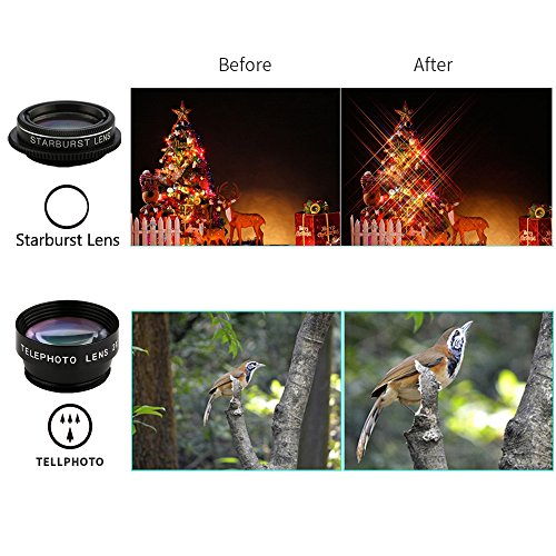 Camera Lens Kit for iPhone Lens - Cell Phone Camera Clip Lens Attachment Kit for iPhone Samsung Android Smartphones (9 in 1)