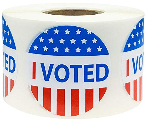 InStockLabels Red-White-and-Blue'I Voted' Circle Stickers, 1.5-Inch Round Labels, Pack of 500