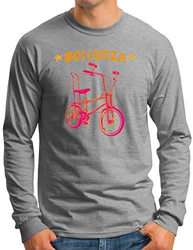 OM3® Bonanza Fahrrad Langarm Shirt   Herren   Retro Vintage Rad Bonanzarad I   Grau Meliert, XL