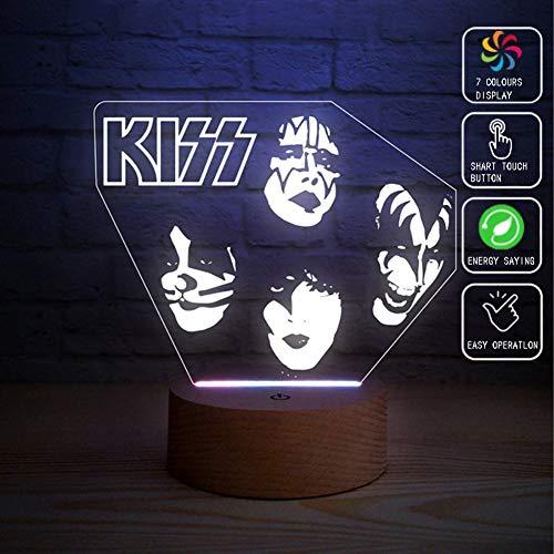 XLBAXLJlight KISS Rock Band 3D-Acryl-Nachtlicht, 7 Farben Led Touch-Schalter Fernbedienung Tischlampe Art und Weise kreative Dekoration Schlaf Licht für Schlafzimmer