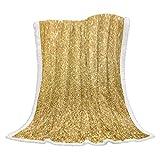 Vandarllin Super Soft Sherpa Throw Blanket Gold Glitz Sequins Velvet Plush Fleece Bedding Blanket All Season,40x50 Inch Gold