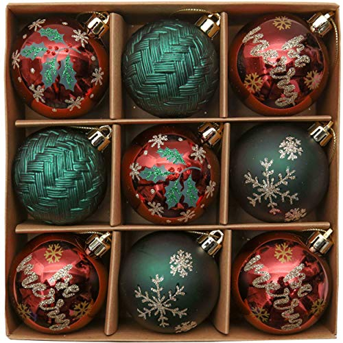 Strada di Campagna Rosso Verde e Oro Infrangibile Ornamenti Palla di Natale Decorazione per Albero di Natale Decor Valery Madelyn Palle di Natale 9 Pezzi 6 cm Palline di Natale
