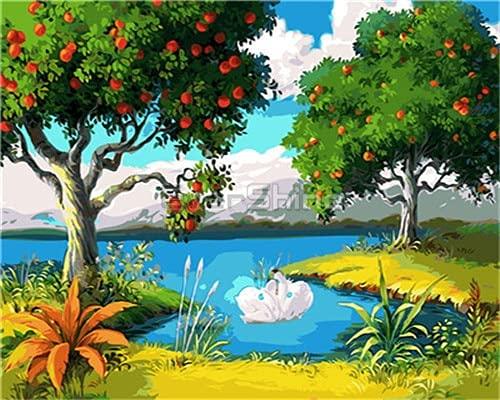 ZXDA Dipinto ad Olio con i Numeri Paesaggio da colorare con i Numeri Immagine Primaverile Set Dipinto a Mano Wall Art Home Decor A14 40x50cm50
