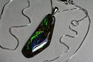 Ammolite Necklace, Rainbow Ammolite Pendant, Sterling Silver 18