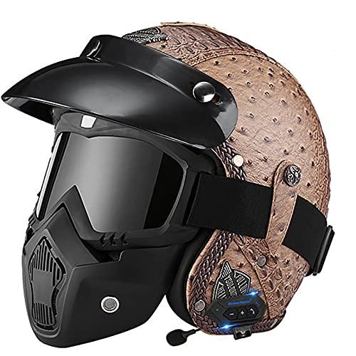 Bluetooth Casco Moto Jet,ECE Homologado,Adultos Casco Moto Abierto 3/4 Casco Moto para Mujer y Hombre,Casco Crash para Mofa Piloto Cruiser Chopper Scooter Biker I,XL=60~61cm