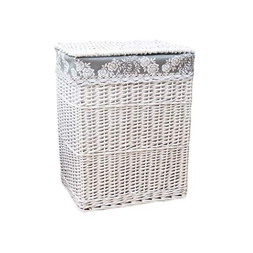 no-logo WAJklj Dirty Clothes Toys Storage Basket ,Square with Lid Laundry Basket Rattan Cotton Lining Dirty Hamper Clothes Sundries (Size : S)