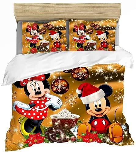 NBAOBAO Juego de ropa de cama Mickey Mouse, juego de funda de edredón, cremallera oculta, suave, cómodo, sin relleno, juego de 3 piezas (ratón 3,135 x 200 cm + 80 x 80 cm x 2)