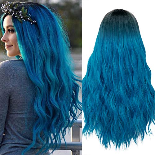 Mildiso Blue Wigs for Women Ombre Long Blue Curly Wavy Hair Wig Natural Cute Pastel Colorful Wig with Breathable Wig Cap Perfect for Daily Party Cosplay M052B