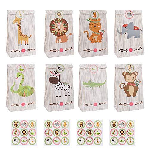 Sacchetti Regalo di Carta 24 Pezzi Colorati Sacchetti Caramelle con Adesivi per Natale, Feste di Compleanno, Matrimoni