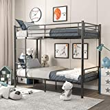 mecor 2 x 3FT Single Metal Detachable Bunk Beds Frame - Splits into 2 Beds - for Twins Kids Teenagers Adult Dormitory(Black)