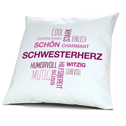 Kopfkissen mit Namen Schwesterherz - Motiv Positive Eigenschaften Tagcloud Pink, 40 cm, 100% Baumwolle, Kuschelkissen, Liebeskissen, Namenskissen, Geschenkidee