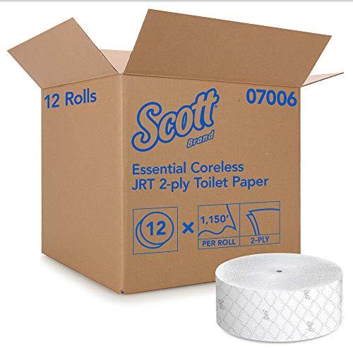 Scott Essential Jumbo Roll JR. Coreless Toilet Paper (07006), 2-PLY, White, 12 Rolls / Case, 1,150' / Roll