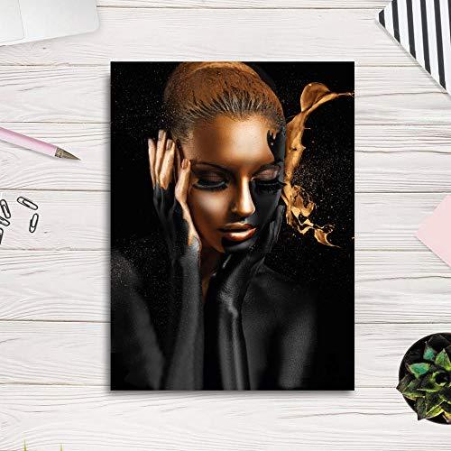 VVSUN Arte Africano Mujer Negro Dorado Lienzo Pintura Carteles e Impresiones escandinavo Cuadro de Pared para Sala de Estar decoración del hogar 50x70 cm 20x28 Pulgadas sin Marco