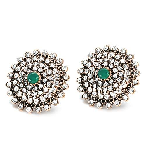 Pendientes de cristal redondo de lujo para las mujeres oro antiguo resina azul cubierta blanco Rhinestone boda pendientes vintage joyería