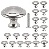 Librao 20Pcs Cabinet Knobs Round Mushroom Shape Pull Handle Stainless Steel Brushed 30Mm for Drawer Door Cupboard Wardrobe