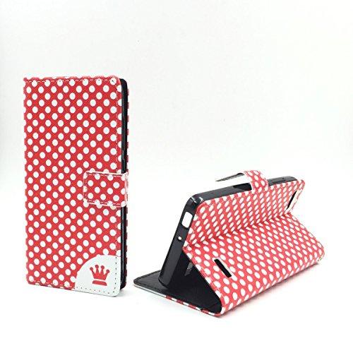 König Design Handyhülle Kompatibel mit Huawei G Play Mini/Honor 4C Handytasche Schutzhülle Tasche Flip Hülle mit Kreditkartenfächern - Polka Dot Rot Weiß