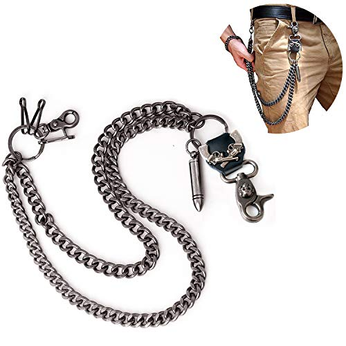 Wallet Chain For Men Biker Hip Hop Punk Skull Gun Bullets Strong Key Jeans Pant Chain Heavy Waist Chain(Bullet)