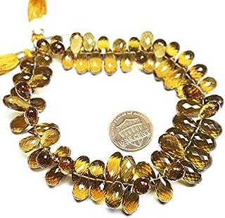 "Jewel Beads Natural Beautiful jewellery Natural Beer Quartz Faceted Tear Drop Briolette Loose Gemstone Beads 9"" 9mm 14mmCode:- JBB-47916"