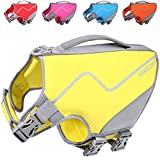 Vivaglory Life Jacket for Dogs, Comfortable Neoprene Dog Life Jacket with Superior Buoyancy & Rescue Handle for Small to Medium Dogs, Yellow M