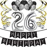 """Wer behauptet denn, dass man erwachsen werden muss?! Wie könntest du deinen 26. Geburtstag besser feiern, als mit einer hanggemachten, hochwertigen """"Happy Birthday"""" Girlande, Luftballons und Spiralgirlanden Set? Dieses Set ist die perfekte Dekoration..."""