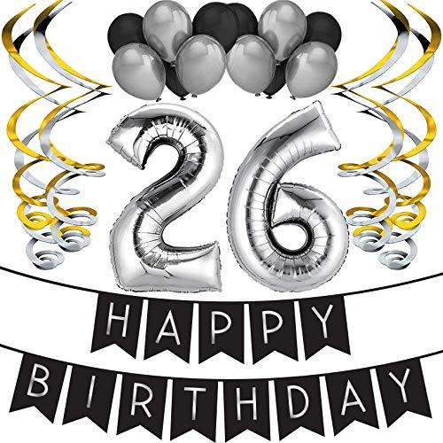 Sterling James Co. 26. Geburtstag Party Set – Schwarz & Silber Happy Birthday Girlande, Poms und Spiralgirlanden – Lustiges Geschenk Deko
