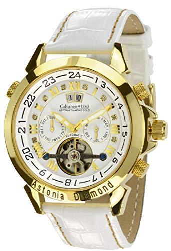Calvaneo 1583 Herren-Armbanduhr Astonia White Snow Platin Analog Automatik Leder weiß 106302