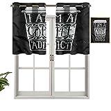 Hiiiman Cortinas cortas, con cenefa, protección de privacidad, texto en inglés 'I am a Coffee Addict Cite, juego de 2, 137 x 91 cm, cortinas para ventana, baño, cocina, sala de estar