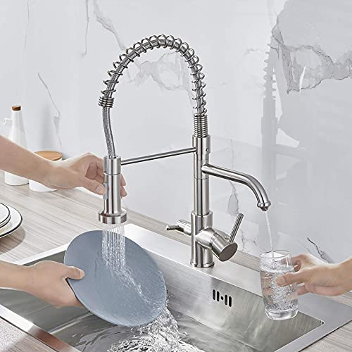 MENATT 3 in 1 Drinking Water Faucet, Pull Down Spring Kitchen Faucet with Purified Faucet, Kitchen Sink Faucet(Brushed Finished)