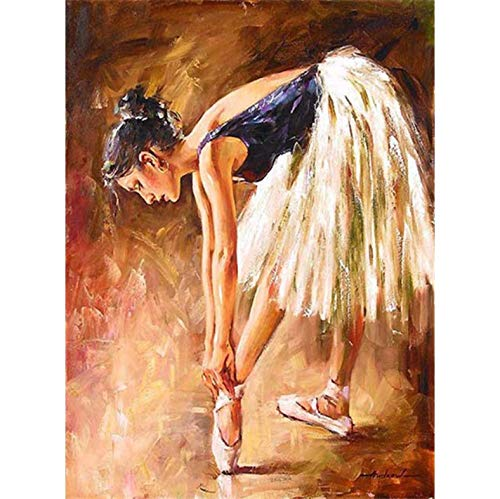 Pintura Diamante Bricolaje Fotos Ballet Girl Kits Dibujo Lienzo Pintado a mano Mosaico Pintura Bailarina Figura Decoración para el hogar A8 40 x 50cm