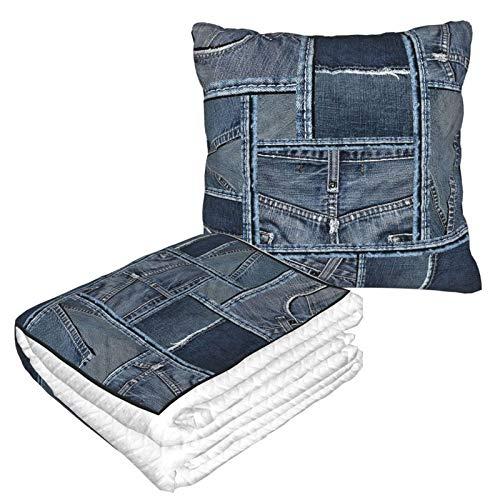 Manta de almohada de terciopelo suave 2 en 1 con bolsa suave azul de mezclilla patrón de patchwork funda de almohada para el hogar, avión, coche, viajes, películas