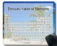 学校のホームオフィスの要素の周期表マウスパッド滑り止め、パームビーチ熱帯テーマのマウスパッドとステッチエッジ