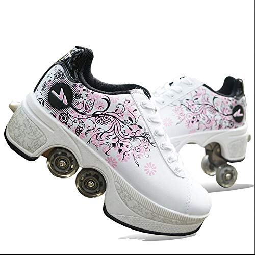 MLyzhe Four-Wheeled Roller Shoes Female Automatic Dual-Purpose Skates Casual Deformation Double-Row Roller Skates,White,37