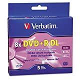 Verbatim DVD+R DL 8.5GB 8X AZO with Branded Surface - 5pk Jewel Case Box