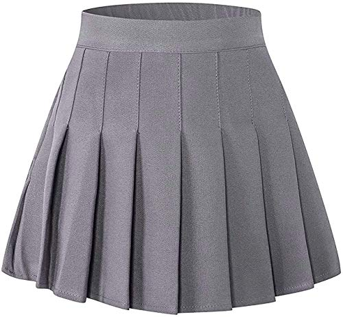 SANGTREE Toddler Little & Big Girls' Solid Plain Pleated School Uniform Short A-Line Skirt, Grey, 13-14 Years/Height 66.9' = Tag 170
