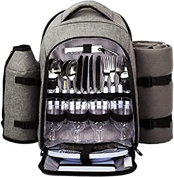 Hap Tim - Waterproof Picnic Backpack for 4 Person with Cutlery Set Cooler Compartment Detachable Bottle/Wine Holder Fleece Blanket Plates for Picnic Time Gray