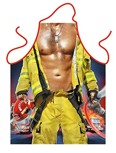 DIVA TRADE Funny Novelty Kitchen Apron Cooking BBQ Party Firemanwith Hose and Helmet For Men Christmas Gift Barbecue Firefighter
