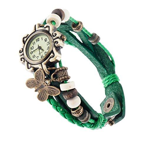 VAGA - Reloj de Pulsera de Cuarzo para Mujer, Estilo Retro, con Correa de Piel Verde, Trenzado, Perlas y Bronce, Colgante de Mariposa