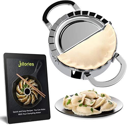 Kitories Dumpling Maker- Pastry Cutter -Tortilla Press- Cooking gadgets- Dough Cutter Mold for Dough- Unique Stainless Steel Tool- Best for Making Dumplings, Pie, Samosa, Wonton, Pasta, Empanada