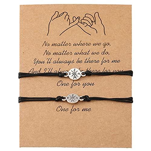 Branets 2 Pièces Cadeau de Bracelet Assorti à Distance de Promettre l'Amitié à la Main pour Meilleur Ami Couple Amant Filles, Bracelets de Cordon Réglable avec 1 Carte de Souhaits