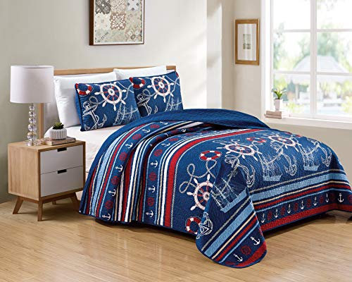 Better Home Style 3 Piece Light & Dark Blue White Red Striped Nautical Ships Helms Anchors Sailor Printed Design Quilt Coverlet Bedspread Oversized Bed Cover Set # 10586 (Full/Queen)