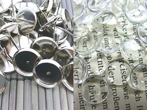 beadsvision 50 Ohrstecker mit 50 klaren Cabochons 12mm Ohrringe Farbwahl Fassungen Rohlinge #S538 Kombi (antiksilber #S572)
